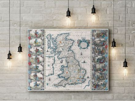 John Speed: Map of the British Isles. Fine Art Canvas.